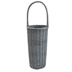 Grey Wash Wicker Round Umbrella Basket Stand
