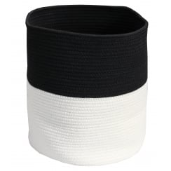 Black & White Round Soft Rope Storage Bag Basket