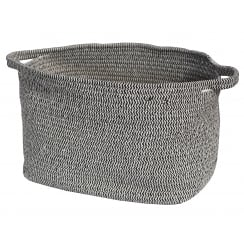 Black & White Herringbone Rope Storage Floor Basket Large