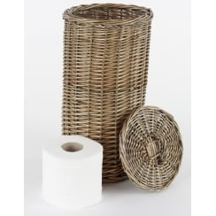 Antique Wash Round Wicker Toilet Roll Basket Holder