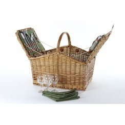 Tweed 4 Person Double Lidded Picnic Hamper