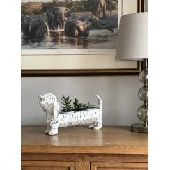 """Ralph"" The White Rope Dachshund/Sausage Dog Planter"