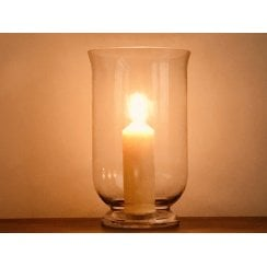 Clear Glass Hurricane Lamp Candle Holder