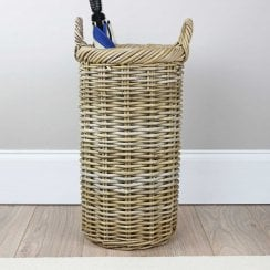 Grey & Buff Rattan Round Umbrella Wicker Basket